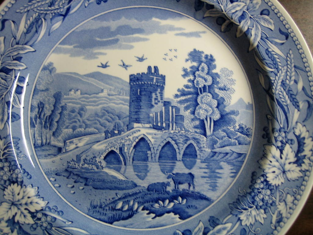Blue Toile Transferware Tower Bridge Cows Berries Leaves Plate Center www.DecorativeDishes.net