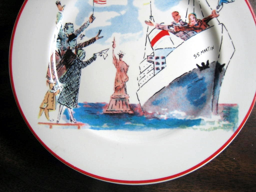 Whimsical New York Statue Liberty Flag Cartoon Bon Voyage Plate