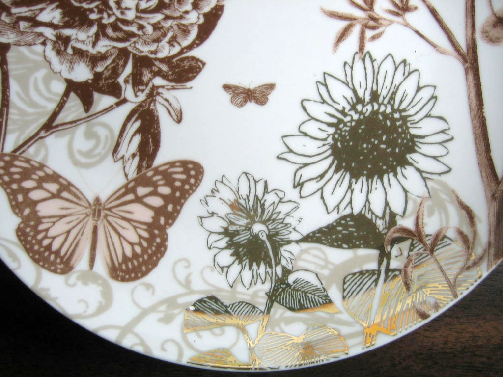 Taupe Tan Botanical Sunflower Butterfly Shiny Gold Plate Edge www.DecorativeDishes.net