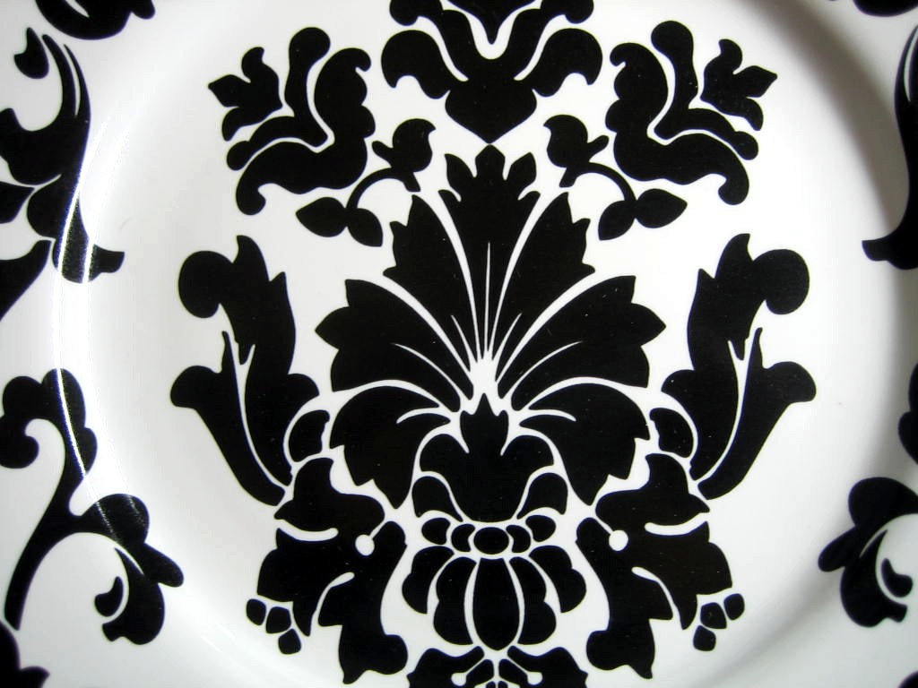 Black on White Damask Exotic Wallpaper Scroll Decorative Plate A Center www.DecorativeDishes.net