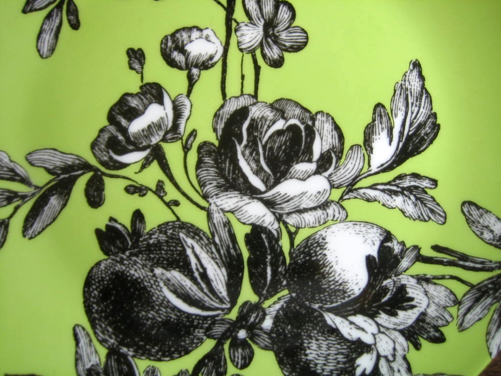 Black and White Toile on Green Roses Berries Rosanna Plate B Center www.DecorativeDishes.net