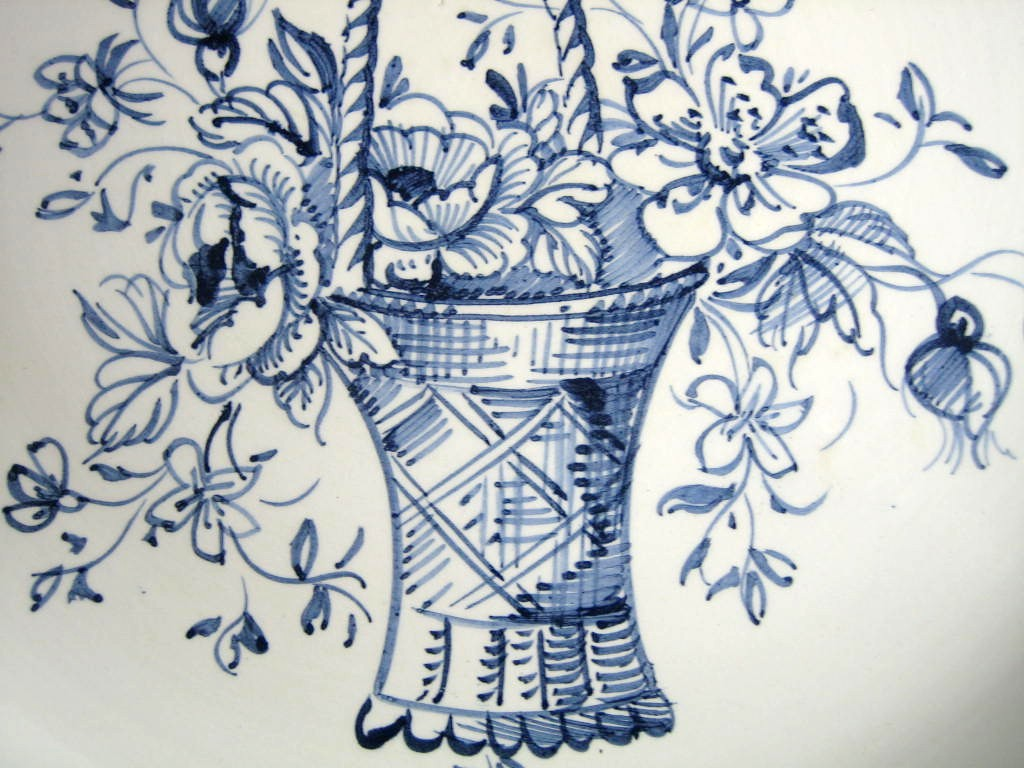 Blue Hand Drawn Victorian Basket Bow Made in Italy Plate Ethan Allen Center www.DecorativeDishes.net