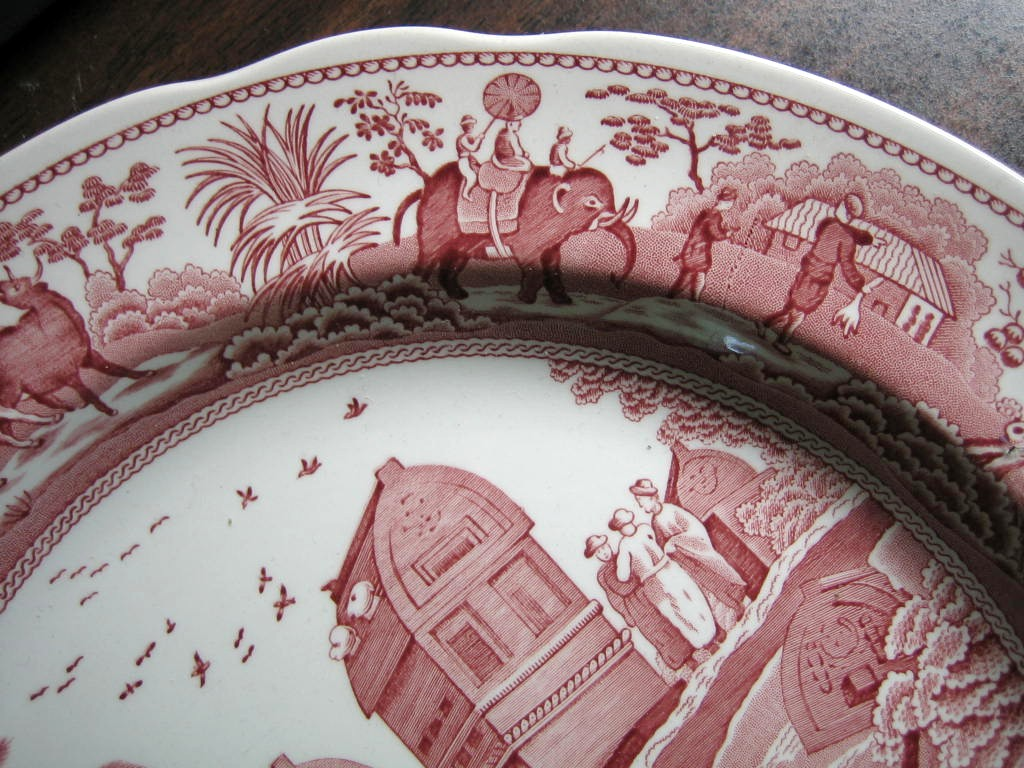 Pink Toile Transferware Exotic Animals Palm Temple Plate Edge www.DecorativeDishes.net