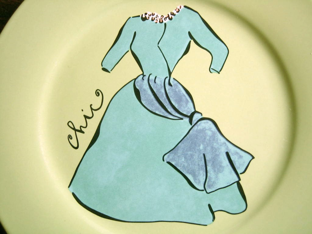 Vintage Aqua Dress on Green Fashion Plate Chic Rosanna Center www.DecorativeDishes.net