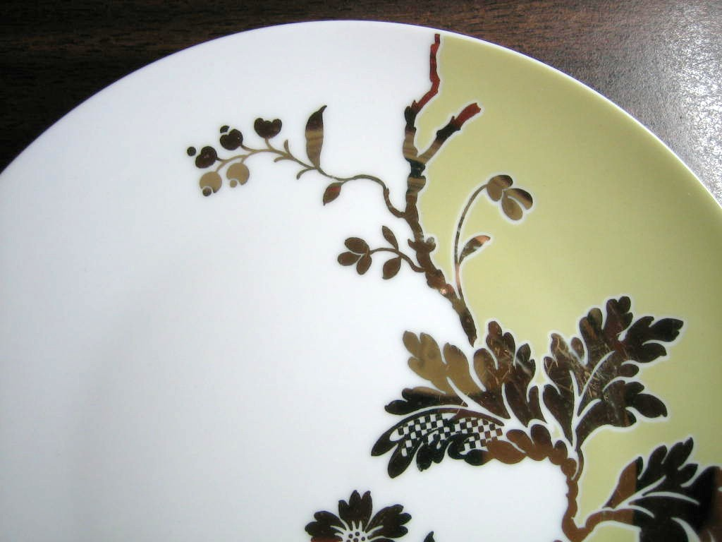 White Green Shiny Gold Floral Leaves Damask Shabby Plate Center www.DecorativeDishes.net