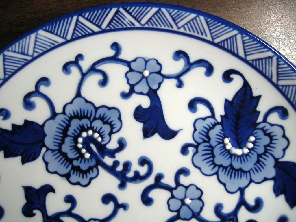 Cobalt Blue Exotic Chinoiserie Scroll Flower Zig Zag Edge Plate Edge www.DecorativeDishes.net