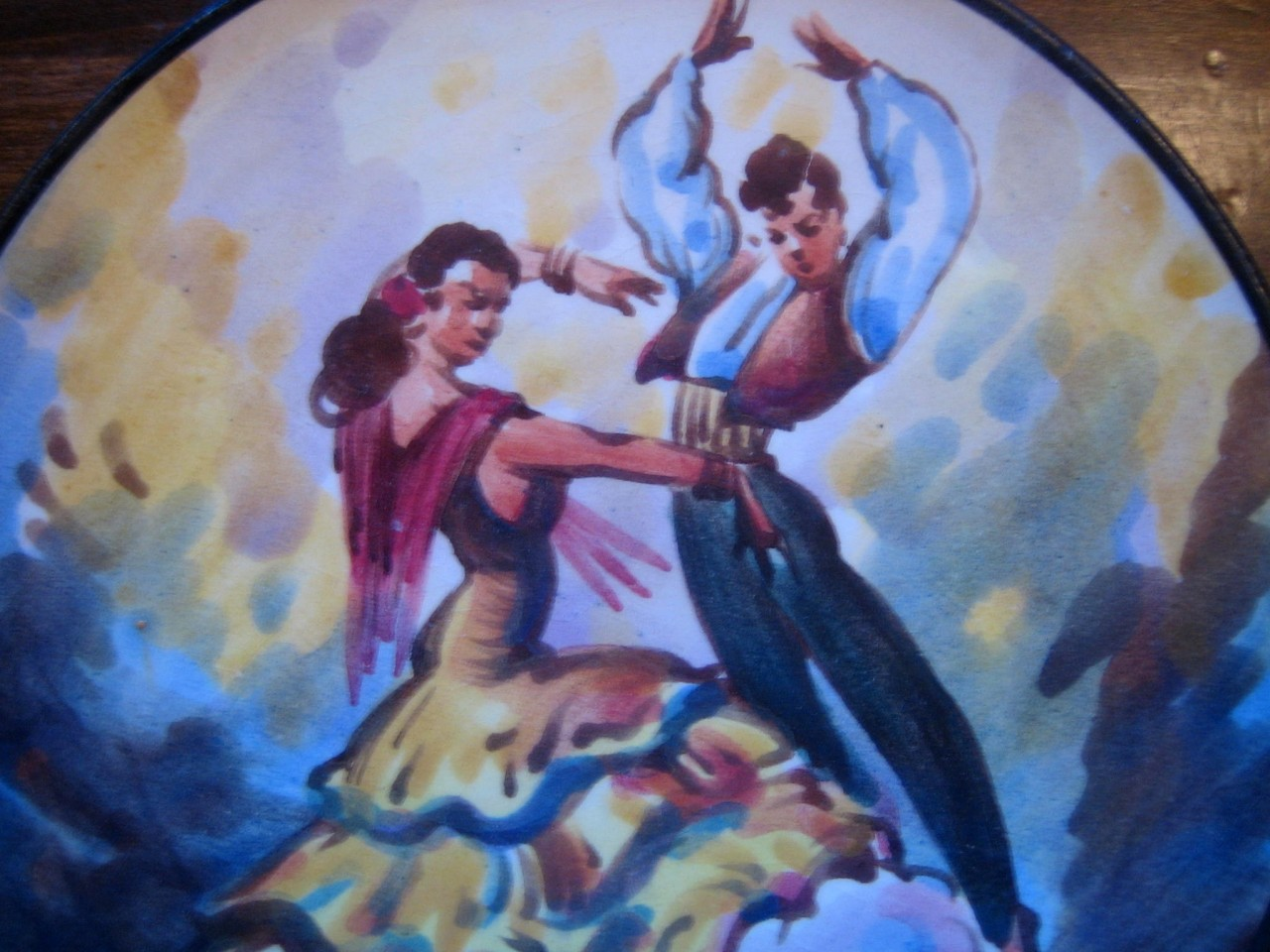 Hand Painted Spain Man Woman Flamenco Dancer Tile Vintage Plate Center www.DecorativeDishes.net