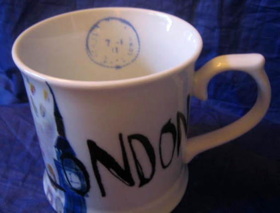 Whimsical London Bridge Big Ben Couple Large Mug