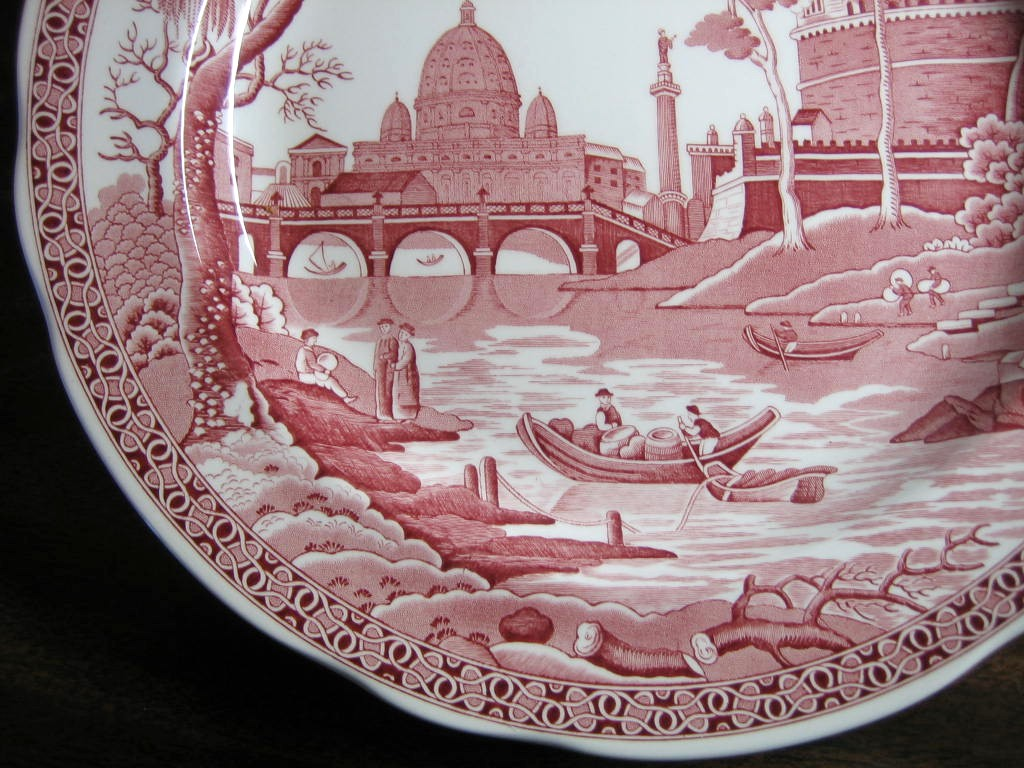 Pink Red Toile Transferware Exotic Palm River Temple Plate Edge www.DecorativeDishes.net