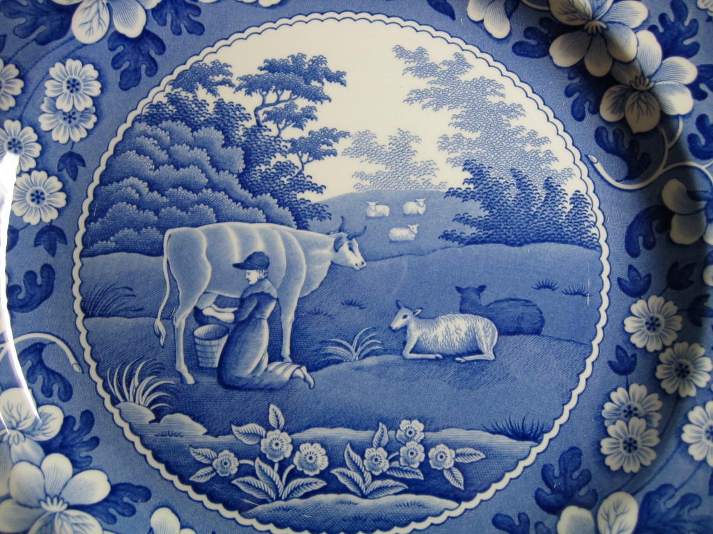 Blue Toile Transferware Milkmaid Cow Sheep Floral Edge Plate Center www.DecorativeDishes.net
