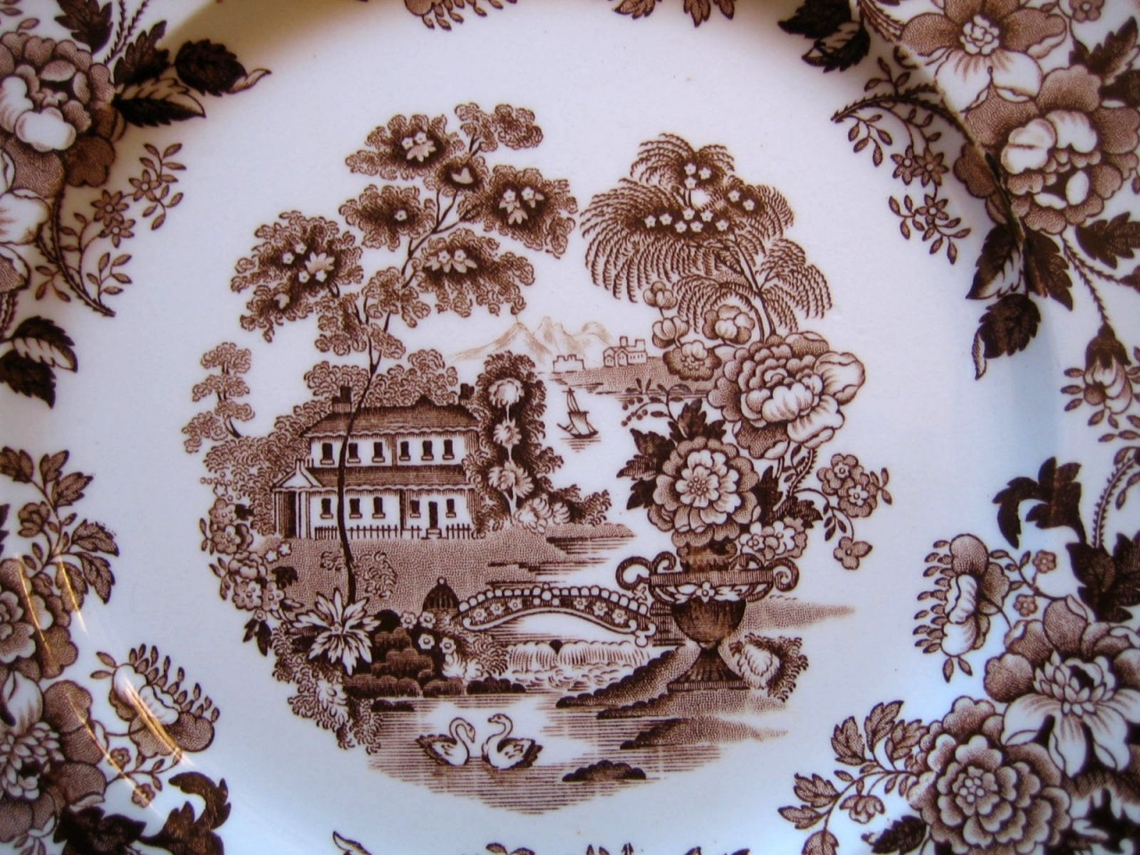 Brown Transferware Chinoiserie Swan Roses Vintage Plate L Center www.DecorativeDishes.net