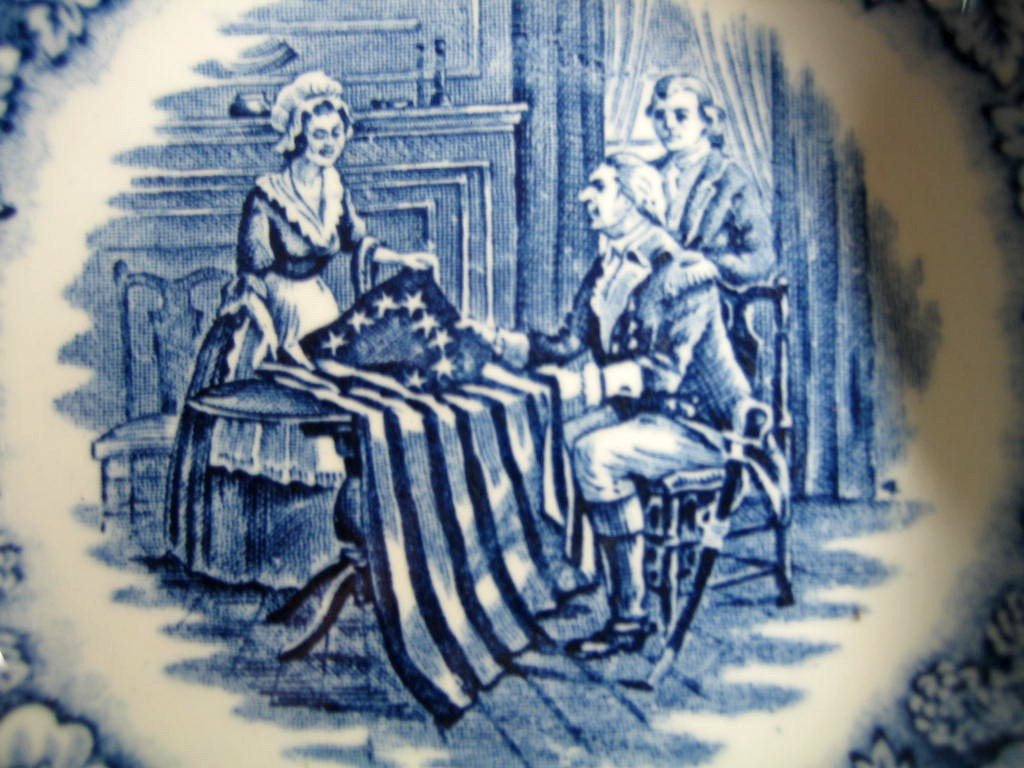 Cobalt Blue Toile Transferware Betsy Ross Flag Tiny Bowl Trinket Dish Center www.DecorativeDishes.net