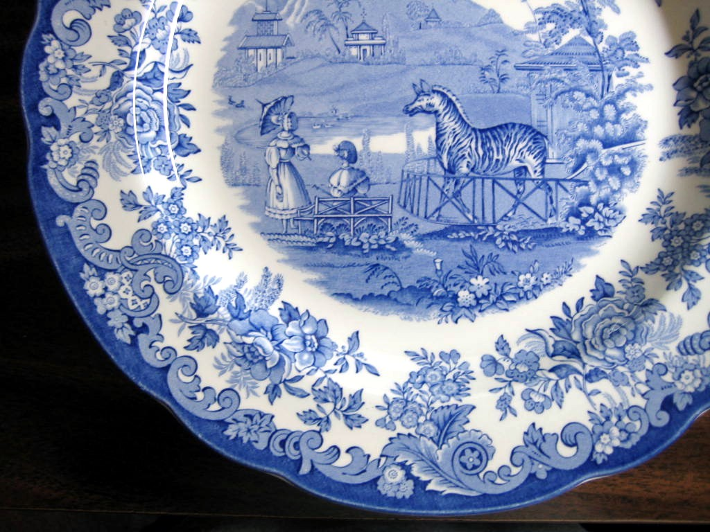 Blue White Transferware Toile Victorian Women Parasol Zoo Zebra Plate Edge www.DecorativeDishes.net