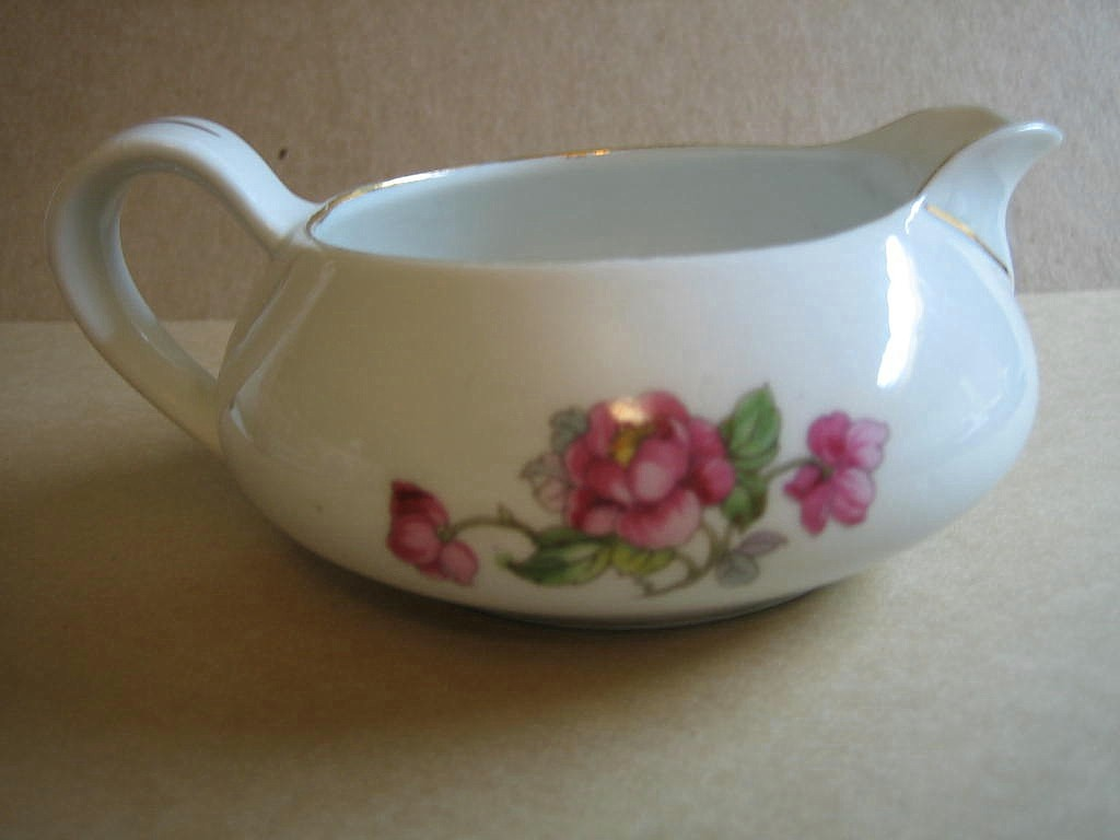 Vintage European Chinoiserie Exotic Bird Roses Small Pitcher Edge www.DecorativeDishes.net