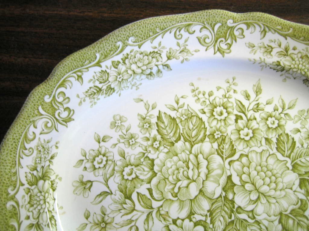 Sage Green White Toile Transferware Cabbage Roses Oval Platter Edge www.DecorativeDishes.net