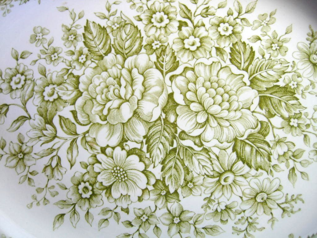 Sage Green White Toile Transferware Cabbage Roses Oval Platter Center www.DecorativeDishes.net