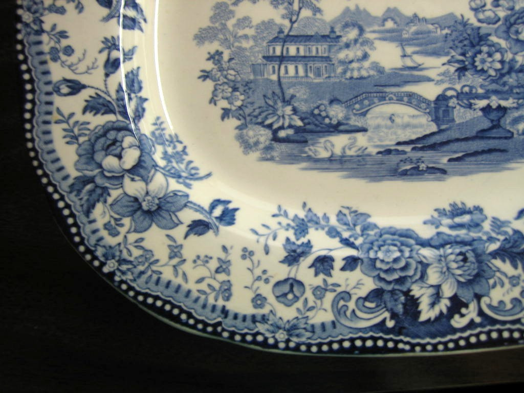 Blue Toile Chinoiserie Swan Roses Vintage Platter Edge www.DecorativeDishes.net