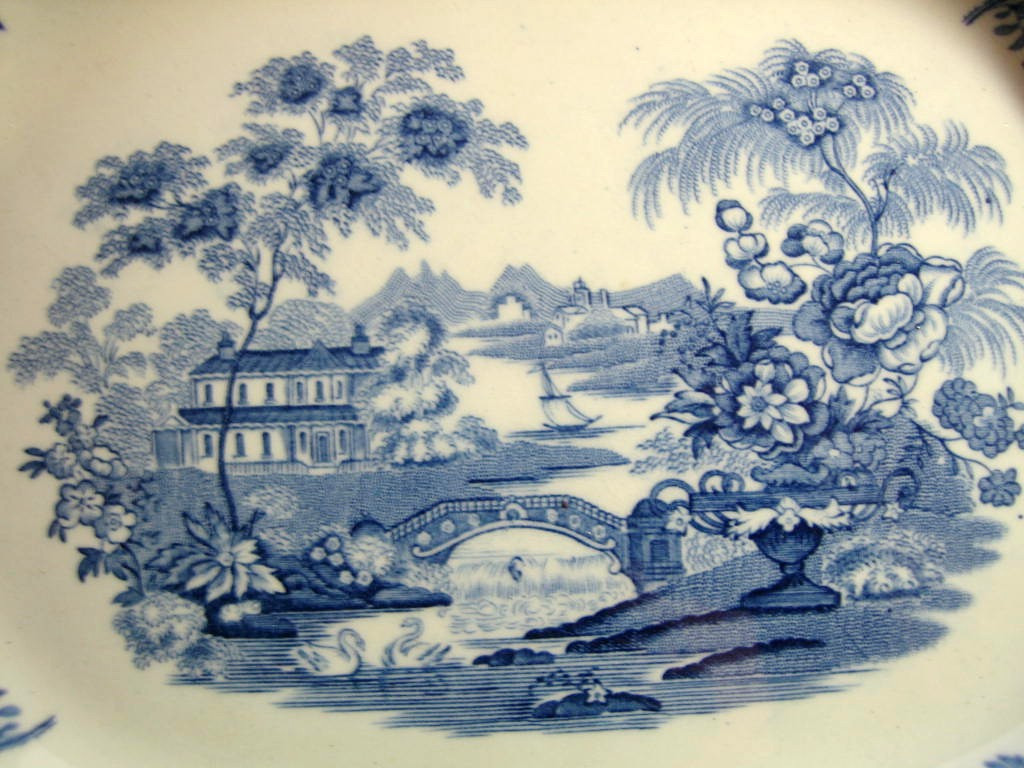 Blue Toile Chinoiserie Swan Roses Vintage Platter Center www.DecorativeDishes.net