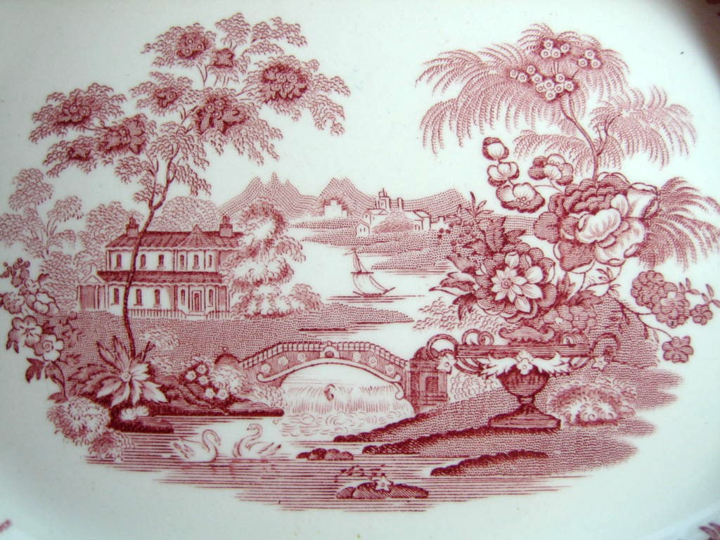 Pink Toile Chinoiserie Swan Roses Vintage Platter Center www.DecorativeDishes.net