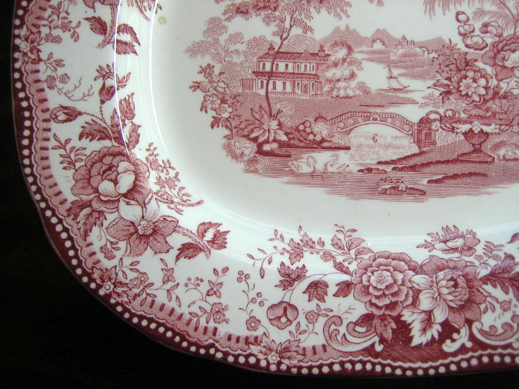 Pink Toile Chinoiserie Swan Roses Vintage Platter Edge www.DecorativeDishes.net