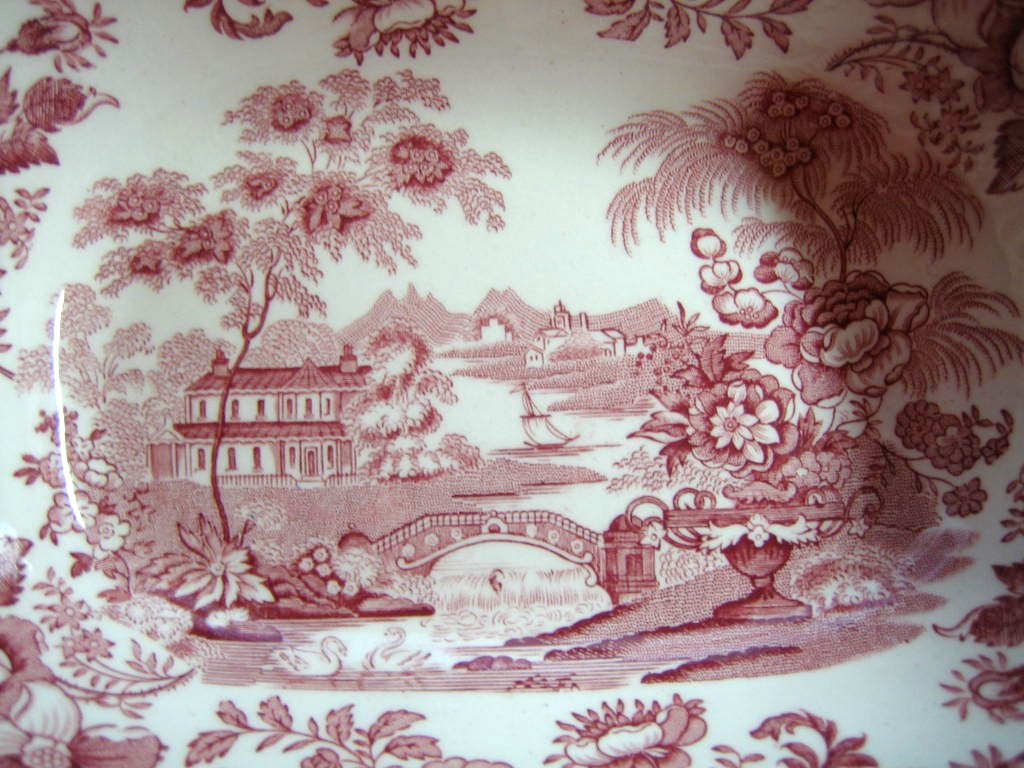 Pink Toile Chinoiserie Swan Roses Oval Large Bowl Center www.DecorativeDishes.net