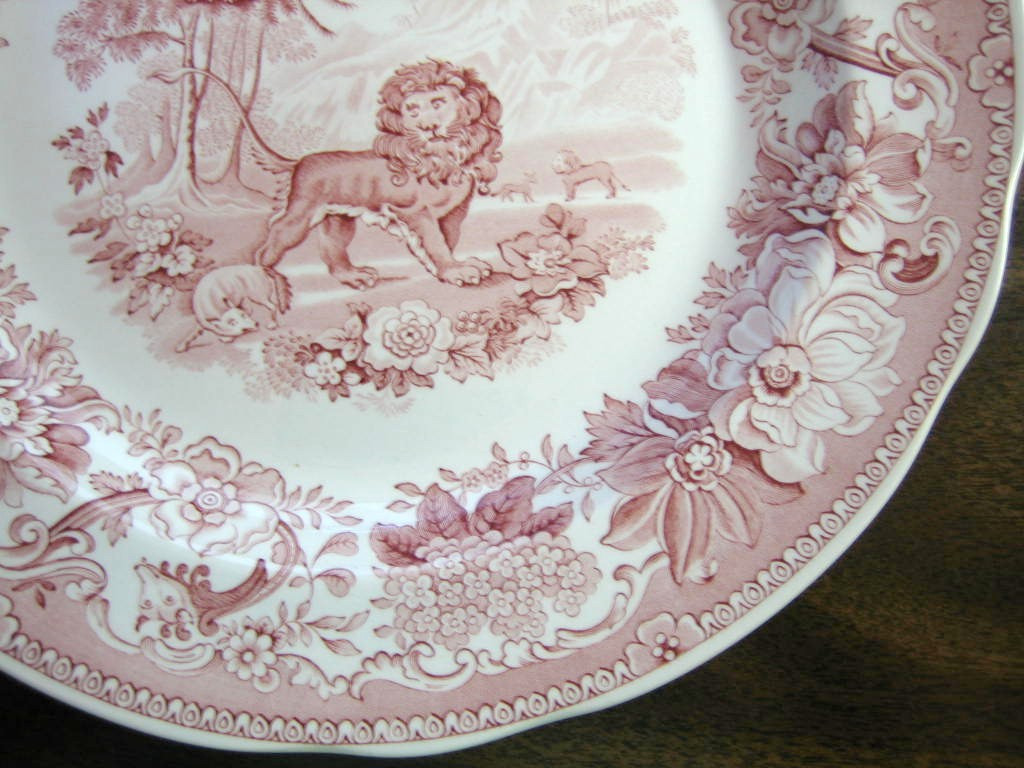 Red Pink Toile Transferware Lion Fox Palm Exotic Motif Plate Edge www.DecorativeDishes.net