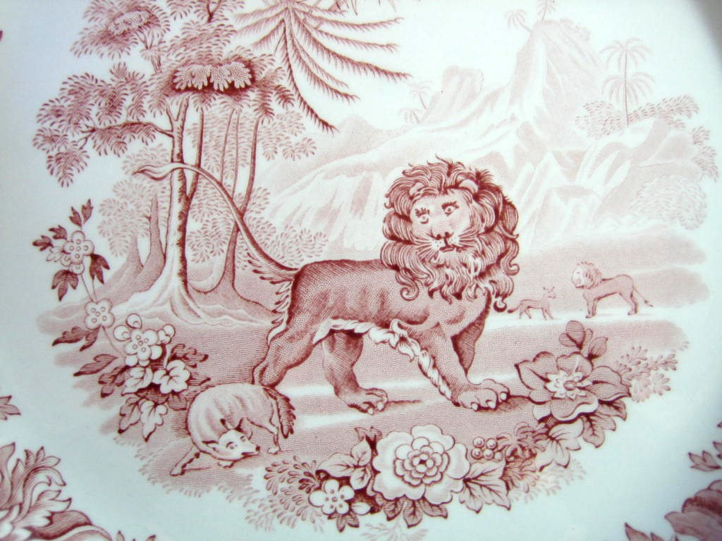 Red Pink Toile Transferware Lion Fox Palm Exotic Motif Plate Center www.DecorativeDishes.net