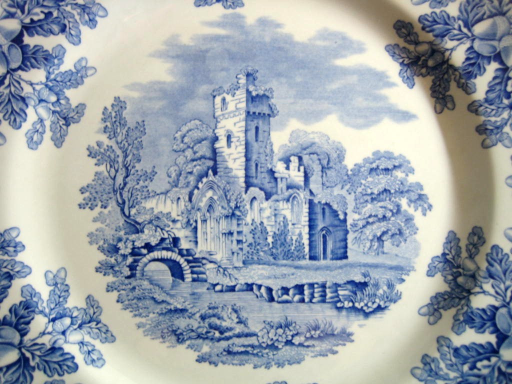 Cobalt Blue Toile Transferware Castle Acorn Oak Leaf Plate Center www.DecorativeDishes.net