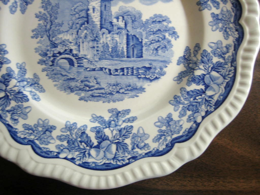 Cobalt Blue Toile Transferware Castle Acorn Oak Leaf Plate Edge www.DecorativeDishes.net