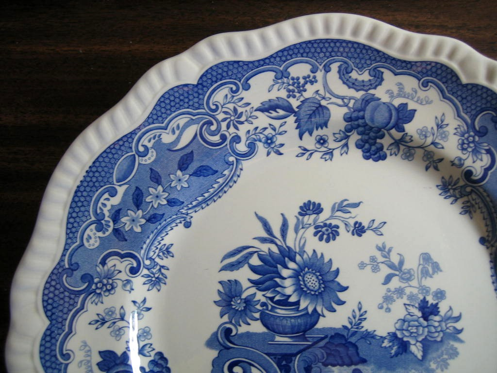 Cobalt Blue Toile Transferware Sunflower Vase Fruit Plate Edge www.DecorativeDishes.net