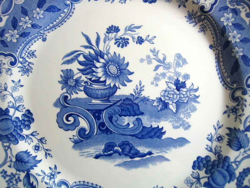Cobalt Blue Toile Transferware Sunflower Vase Fruit Plate Center www.DecorativeDishes.net