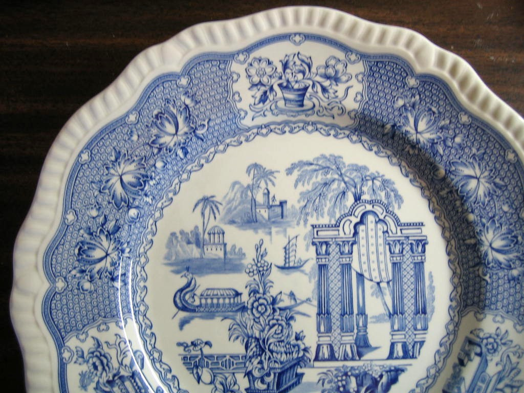 Cobalt Blue Toile Transferware Exotic Chinoiserie Plate Edge www.DecorativeDishes.net