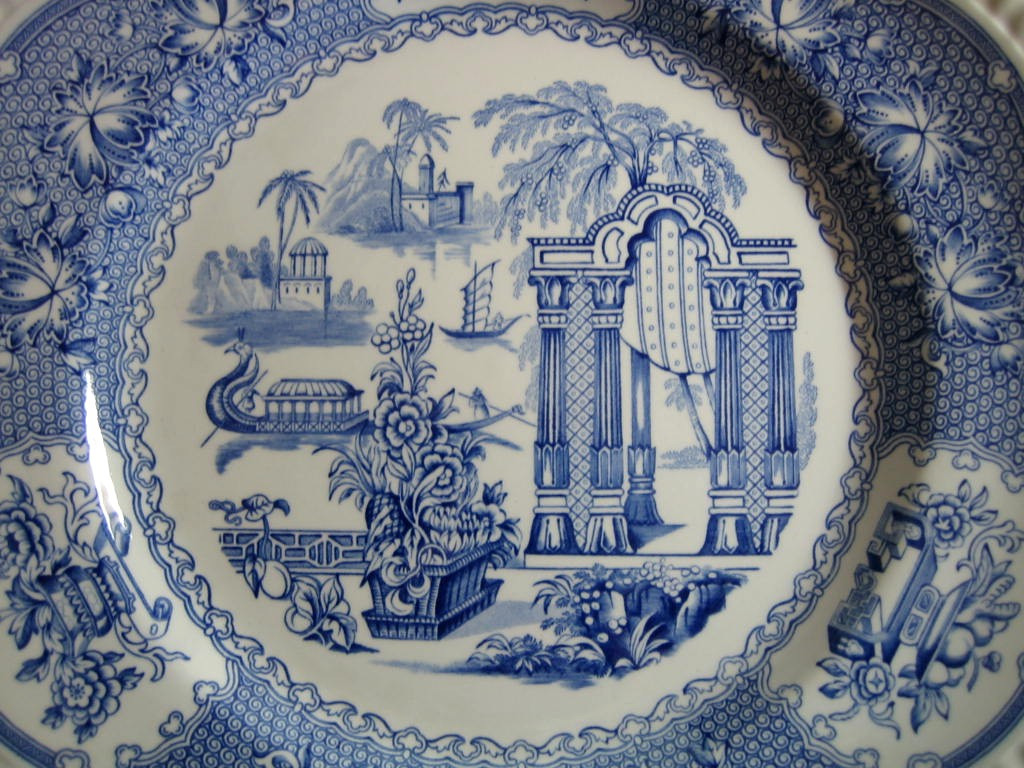 Cobalt Blue Toile Transferware Exotic Chinoiserie Plate Center www.DecorativeDishes.net