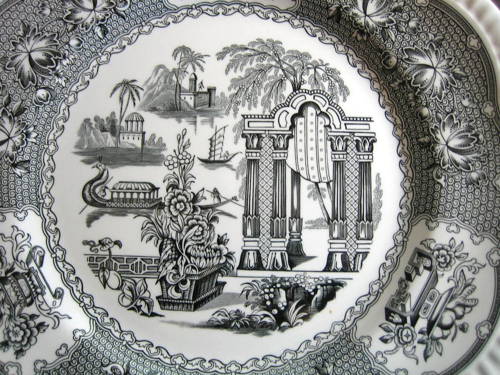 Black Toile Transferware Exotic Chinoiserie Plate Center www.DecorativeDishes.net