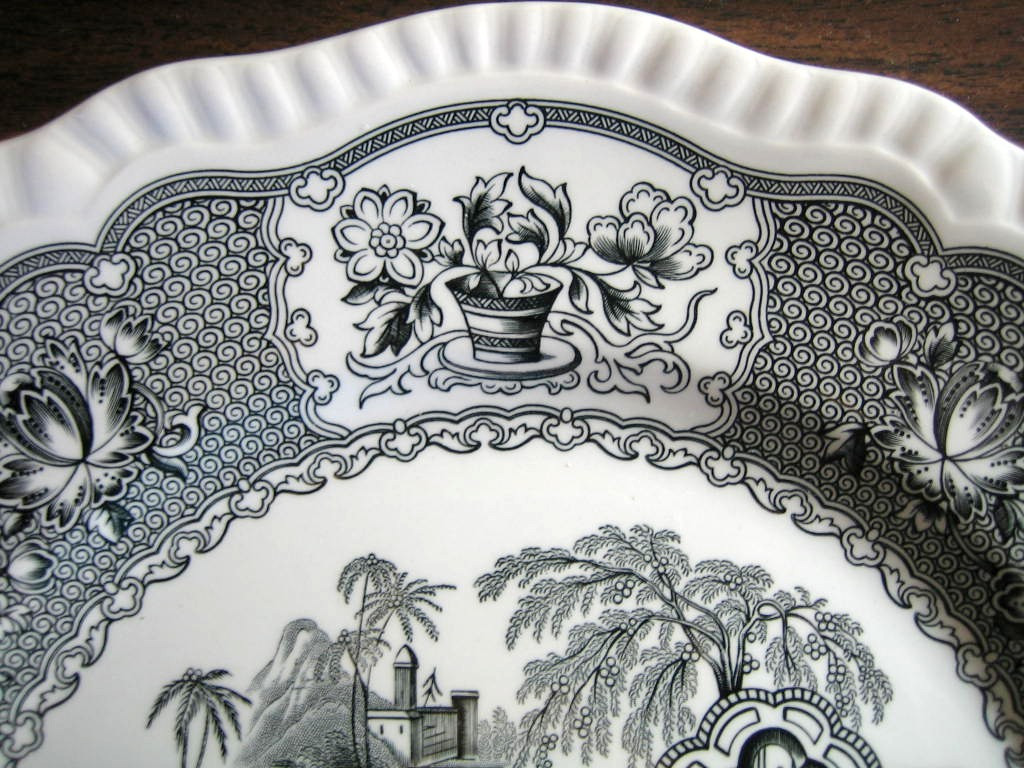Black Toile Transferware Exotic Chinoiserie Plate Edge www.DecorativeDishes.net