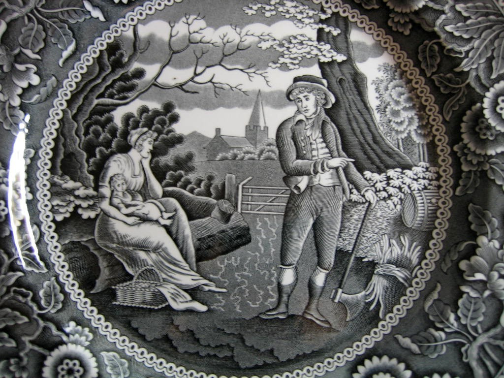 Black on White Toile Transferware Women Baby Calico Plate Center www.DecorativeDishes.net