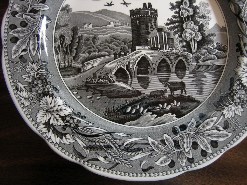 Black White Toile Transferware Tower Bridge Cows Berries Leaves Plate Edge www.DecorativeDishes.net