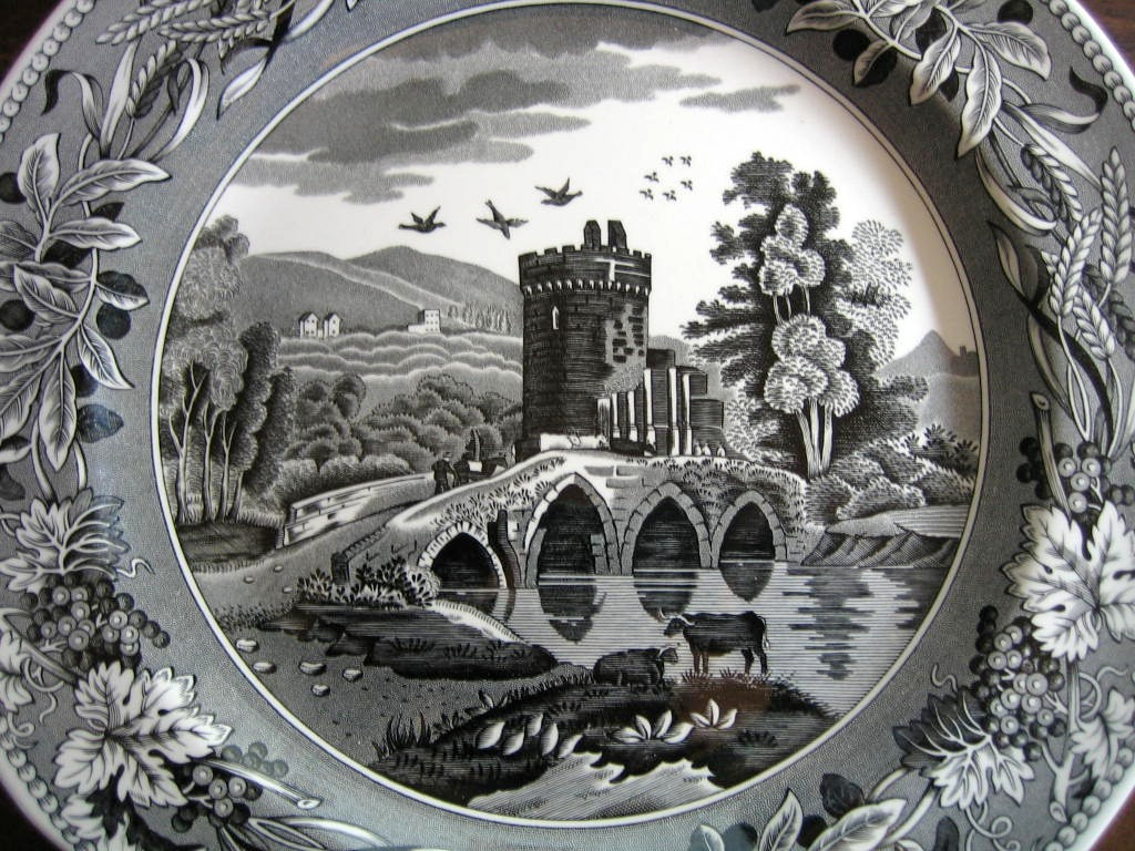Black White Toile Transferware Tower Bridge Cows Berries Leaves Plate Center www.DecorativeDishes.net