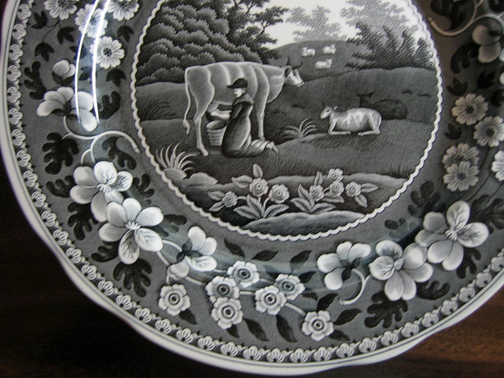 Black White Toile Transferware Milkmaid Cow Sheep Floral Edge Plate Edge www.DecorativeDishes.net