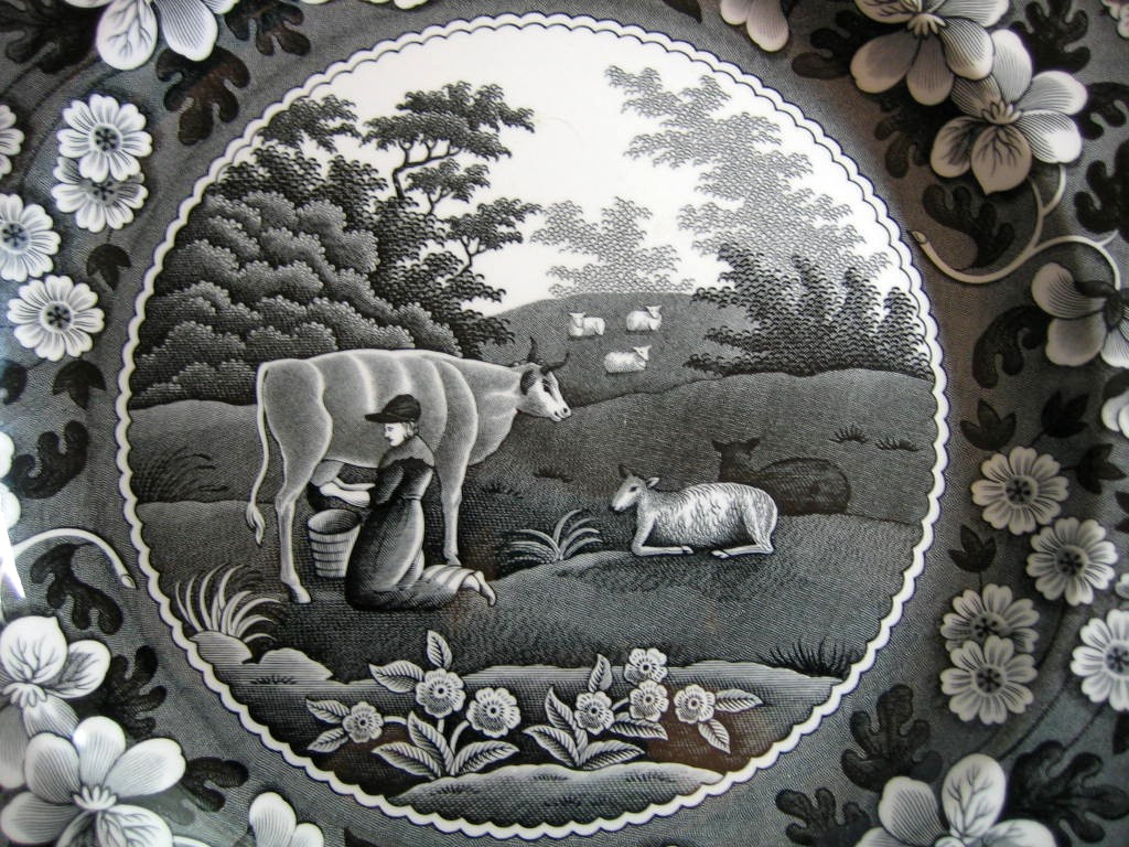 Black White Toile Transferware Milkmaid Cow Sheep Floral Edge Plate Center www.DecorativeDishes.net