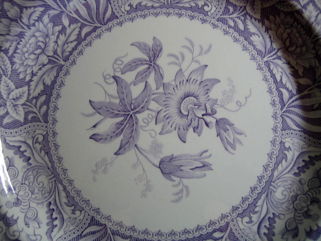 Lavender Purple Toile Transferware Exotic Floral Plate Center www.DecorativeDishes.net
