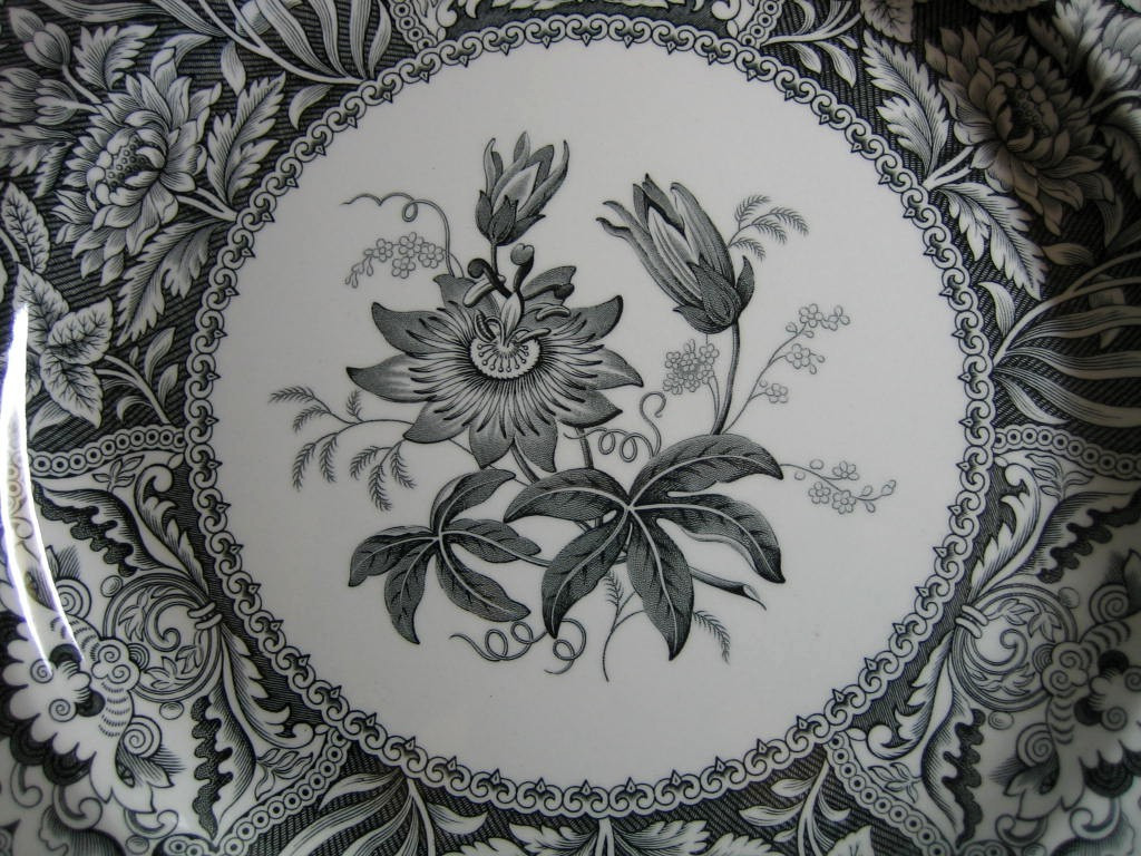 Black White Toile Transferware Exotic Floral Plate Center www.DecorativeDishes.net