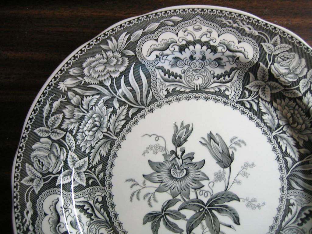 Black White Toile Transferware Exotic Floral Plate Edge www.DecorativeDishes.net