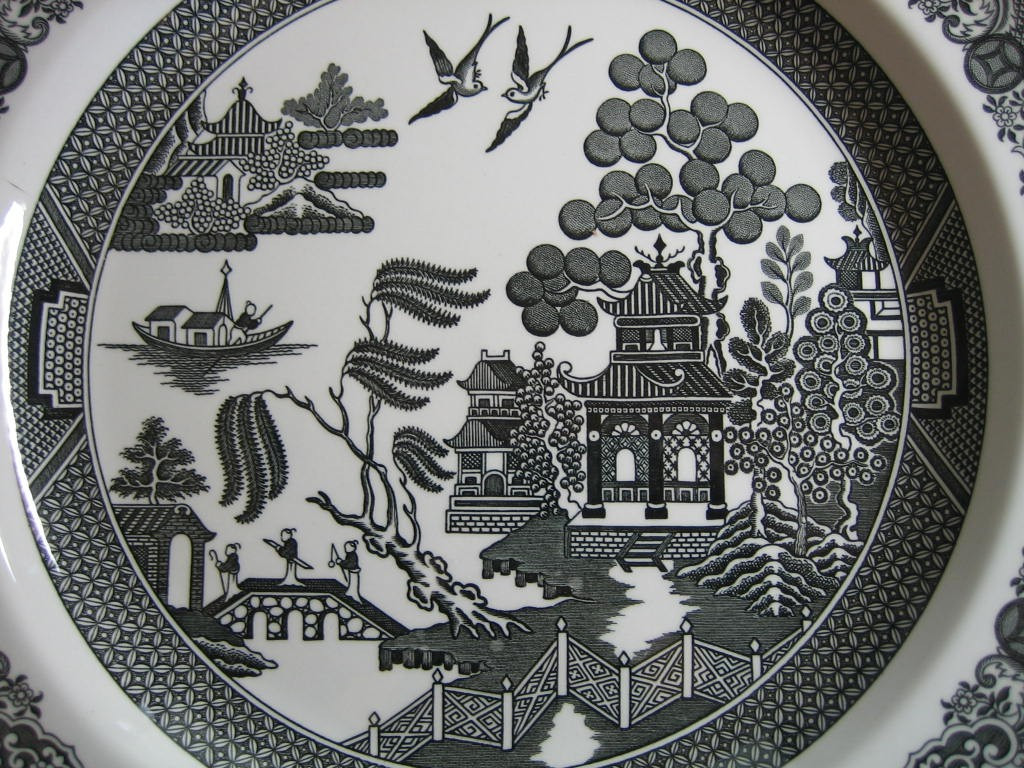 Black White Chinoiserie Exotic Bird Willow Plate Center www.DecorativeDishes.net