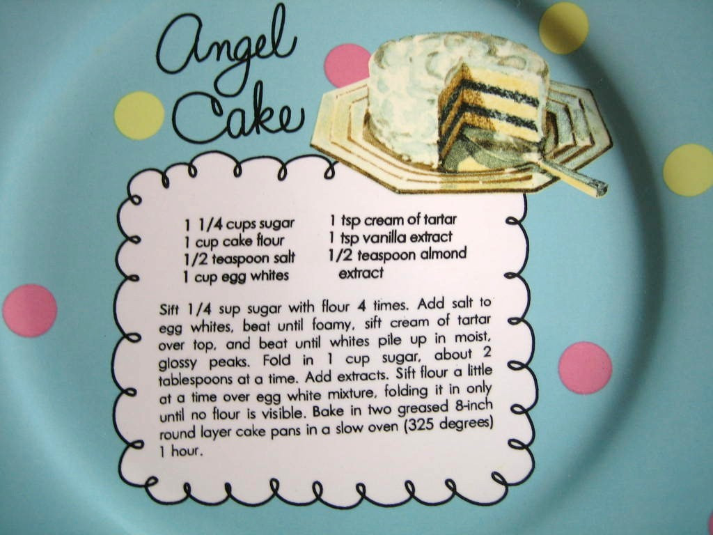 Whimsical Aqua Polka Dot Angel Cake Recipe Cute Cake Plate Center www.DecorativeDishes.net