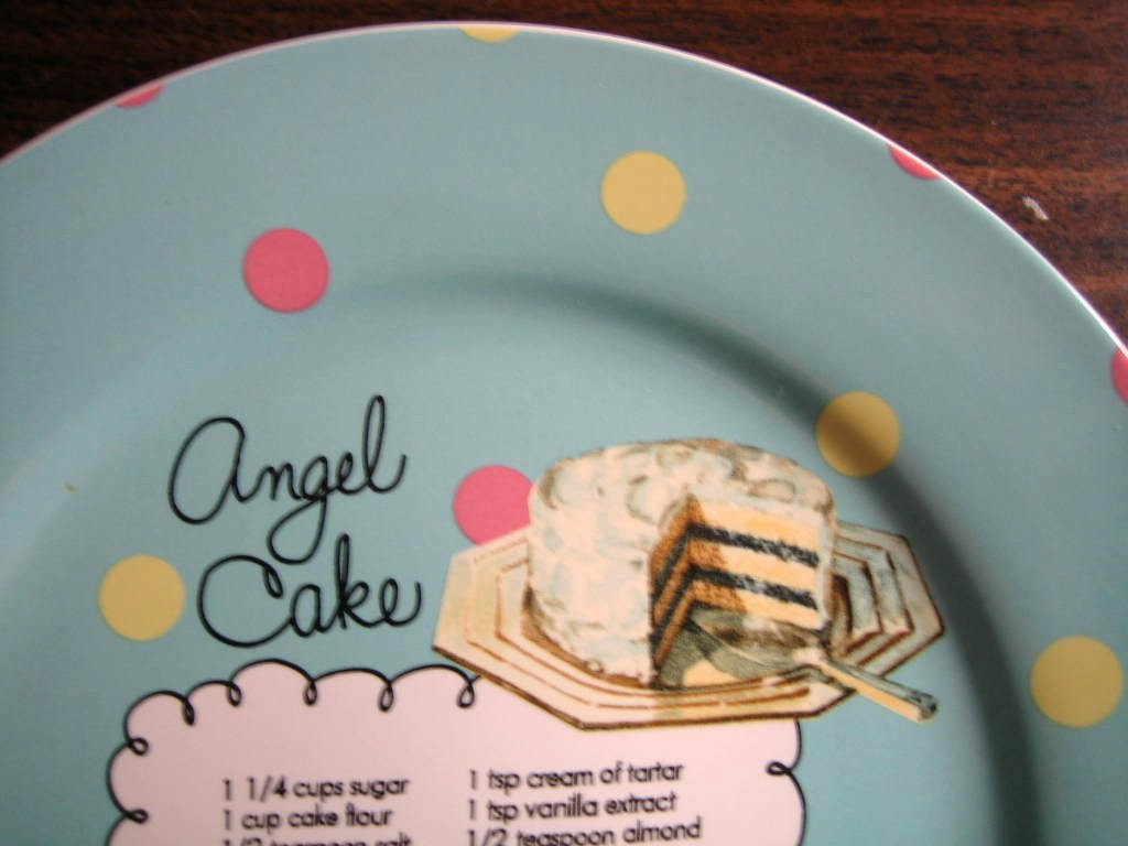 Whimsical Aqua Polka Dot Angel Cake Recipe Cute Cake Plate Edge www.DecorativeDishes.net