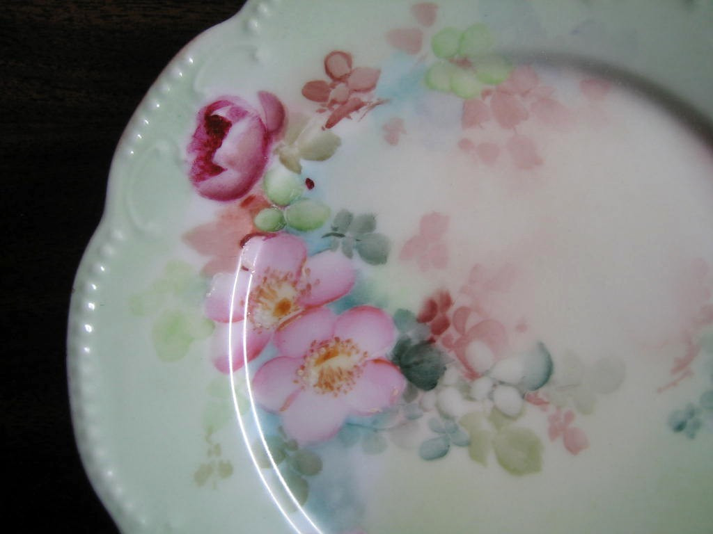 Antique Hand Painted Pink Pink Rose French Limoges Porcelain Plate Center www.DecorativeDishes.net