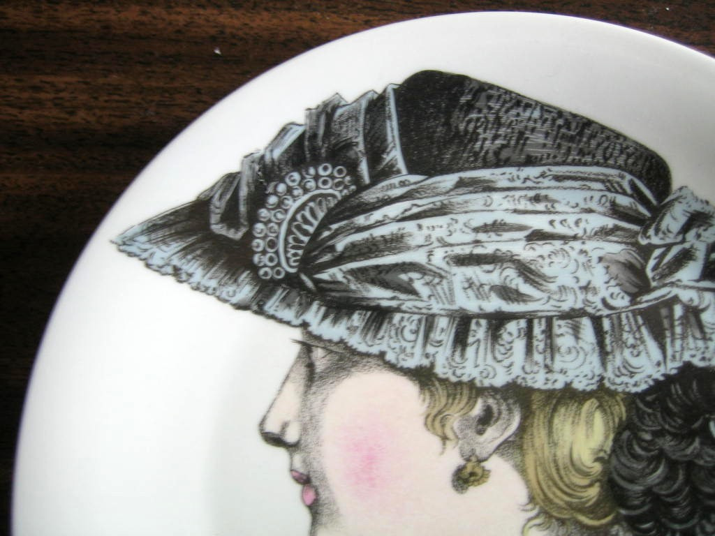 French Lace Victorian Hat Fashion Porcelain Plate Melle Josephine Edge www.DecorativeDishes.net