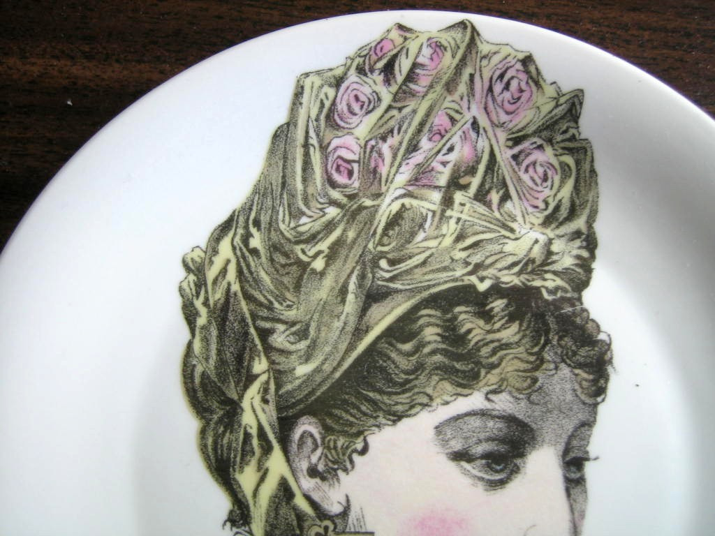 French Roses Victorian Hat Fashion Porcelain Plate Melle Valentine Edge www.DecorativeDishes.net