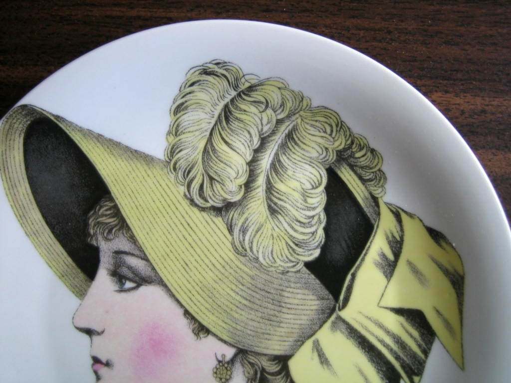 French Straw Victorian Hat Fashion Porcelain Plate Melle Hortense Edge www.DecorativeDishes.net